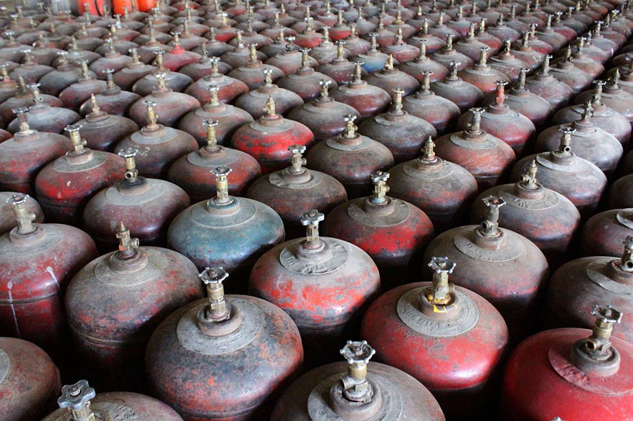 Rows of expensive gas cylinders